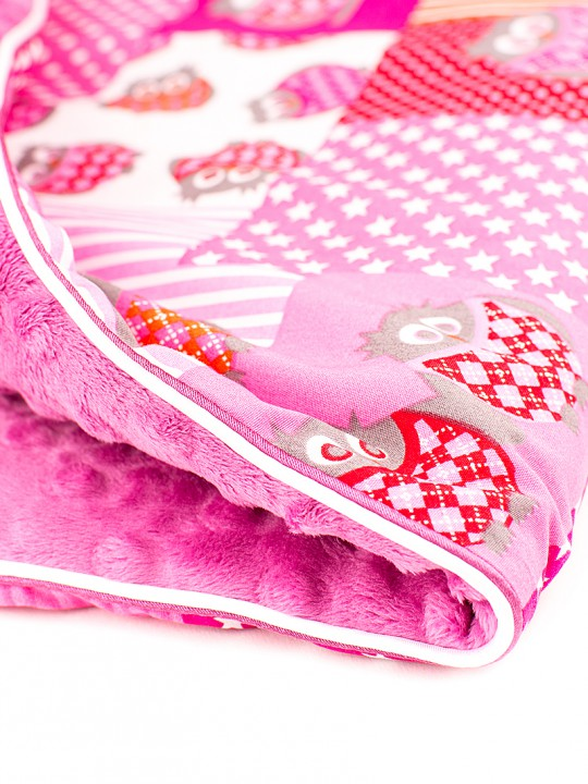 Babydecke_Pink Owls Patch_Rasp_4