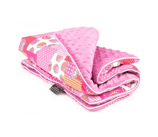 Babydecke Patch Owls Fuchsia